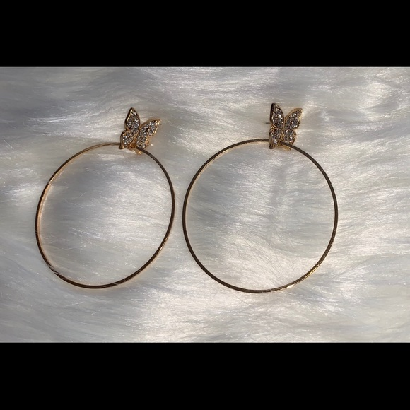 """2"""" Hoop Earrings With 🦋 Butterfly Accent by Poshmark"""